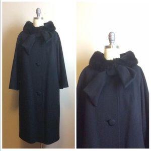 Vintage 1950s Black Wool Lilli Ann Swing Coat